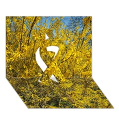 Nature, Yellow Orange Tree Photography Ribbon 3d Greeting Card (7x5)