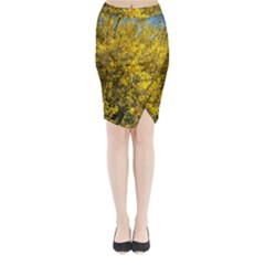 Nature, Yellow Orange Tree Photography Midi Wrap Pencil Skirt