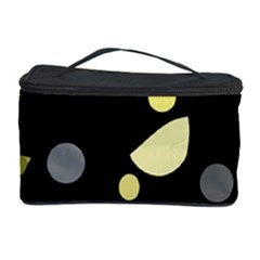 Yellow And Gray Abstract Art Cosmetic Storage Case by Valentinaart