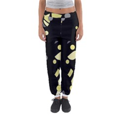 Yellow And Gray Abstract Art Women s Jogger Sweatpants by Valentinaart