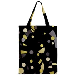 Yellow And Gray Abstract Art Zipper Classic Tote Bag by Valentinaart