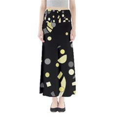 Yellow And Gray Abstract Art Maxi Skirts by Valentinaart