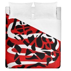 Red Chaos Duvet Cover (queen Size) by Valentinaart