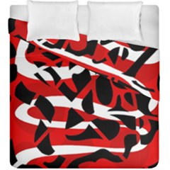 Red Chaos Duvet Cover Double Side (king Size) by Valentinaart