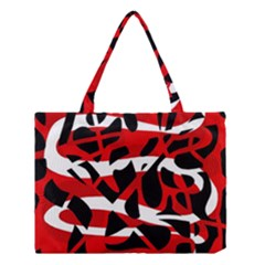 Red Chaos Medium Tote Bag by Valentinaart