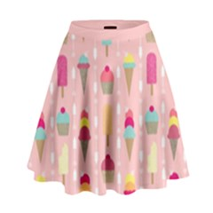 Ice Cream And Cupcake Sweet Tooth Pattern High Waist Skirt