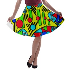 Colorful Chaos A-line Skater Skirt by Valentinaart