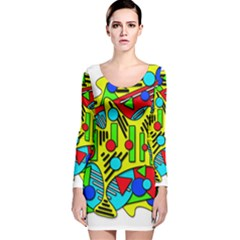 Colorful Chaos Long Sleeve Velvet Bodycon Dress by Valentinaart