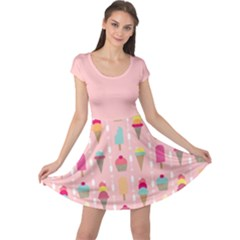 Ice Cream And Cupcake Sweet Tooth Pattern Cap Sleeve Dress