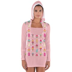 Ice Cream And Cupcake Sweet Tooth Pattern Women s Long Sleeve Hooded T Shirt