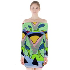 Colorful Landscape Long Sleeve Off Shoulder Dress by Valentinaart