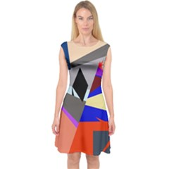 Geometrical Abstract Design Capsleeve Midi Dress by Valentinaart