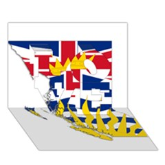 Flag Map Of British Columbia Love 3d Greeting Card (7x5) by abbeyz71