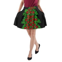 Sparkling Christmas Tree A Line Pocket Skirt by Valentinaart