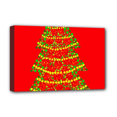 Sparkling Christmas Tree   Red Deluxe Canvas 18  X 12   by Valentinaart