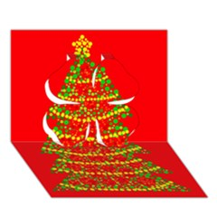 Sparkling Christmas Tree   Red Clover 3d Greeting Card (7x5) by Valentinaart