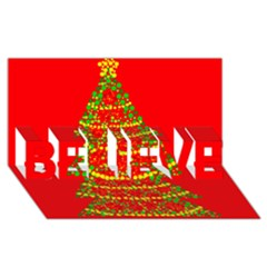 Sparkling Christmas Tree   Red Believe 3d Greeting Card (8x4)