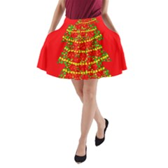 Sparkling Christmas Tree   Red A Line Pocket Skirt by Valentinaart