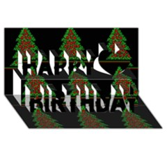 Christmas Trees Pattern Happy Birthday 3d Greeting Card (8x4) by Valentinaart
