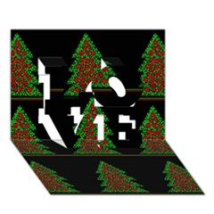 Christmas Trees Pattern Love 3d Greeting Card (7x5)