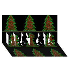Christmas Trees Pattern Best Sis 3d Greeting Card (8x4) by Valentinaart
