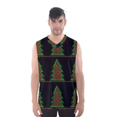 Christmas Trees Pattern Men s Basketball Tank Top by Valentinaart