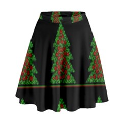 Christmas Trees Pattern High Waist Skirt by Valentinaart
