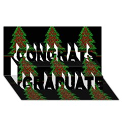 Christmas Trees Pattern Congrats Graduate 3d Greeting Card (8x4) by Valentinaart
