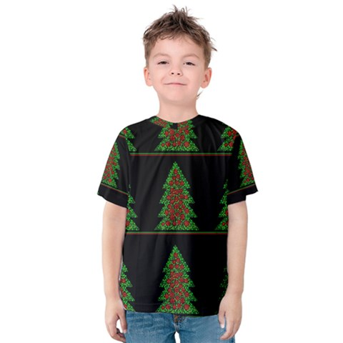 Christmas Trees Pattern Kids  Cotton Tee by Valentinaart