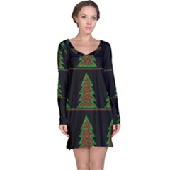 Christmas Trees Pattern Long Sleeve Nightdress by Valentinaart