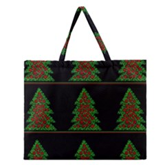 Christmas Trees Pattern Zipper Large Tote Bag by Valentinaart