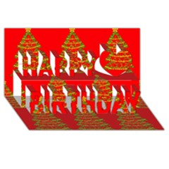 Christmas Trees Red Pattern Happy Birthday 3d Greeting Card (8x4) by Valentinaart