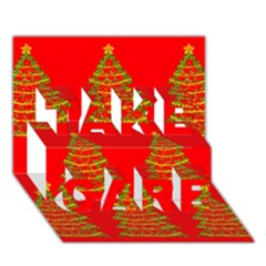 Christmas Trees Red Pattern Take Care 3d Greeting Card (7x5) by Valentinaart
