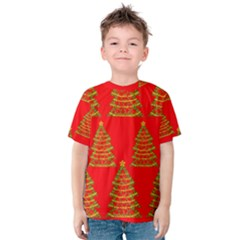Christmas Trees Red Pattern Kids  Cotton Tee by Valentinaart