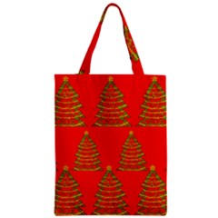 Christmas Trees Red Pattern Zipper Classic Tote Bag by Valentinaart