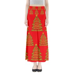 Christmas Trees Red Pattern Maxi Skirts by Valentinaart