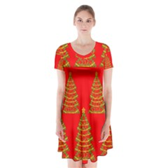 Christmas Trees Red Pattern Short Sleeve V-neck Flare Dress