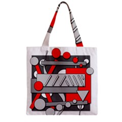 Gray And Red Geometrical Design Zipper Grocery Tote Bag by Valentinaart