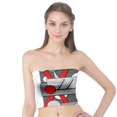 Gray And Red Geometrical Design Tube Top