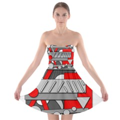 Gray And Red Geometrical Design Strapless Bra Top Dress