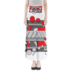 Gray And Red Geometrical Design Maxi Skirts by Valentinaart