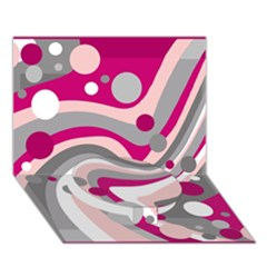 Magenta, Pink And Gray Design Circle Bottom 3d Greeting Card (7x5) by Valentinaart