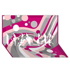 Magenta, Pink And Gray Design Best Sis 3d Greeting Card (8x4) by Valentinaart