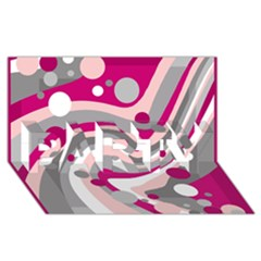 Magenta, Pink And Gray Design Party 3d Greeting Card (8x4) by Valentinaart