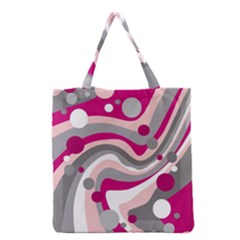 Magenta, Pink And Gray Design Grocery Tote Bag by Valentinaart