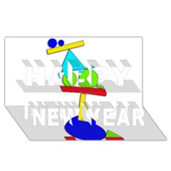 Balance  Happy New Year 3d Greeting Card (8x4) by Valentinaart