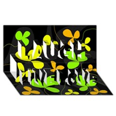 Floral Design Laugh Live Love 3d Greeting Card (8x4) by Valentinaart