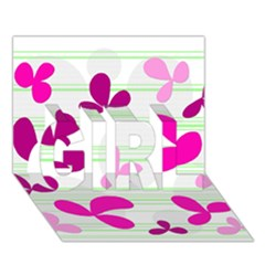 Magenta Floral Pattern Girl 3d Greeting Card (7x5) by Valentinaart