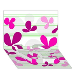 Magenta Floral Pattern Love Bottom 3d Greeting Card (7x5) by Valentinaart