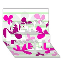 Magenta Floral Pattern Get Well 3d Greeting Card (7x5) by Valentinaart